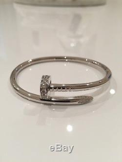 Cartier Juste un Clou 18K White Gold And Diamond Coil Bracelet