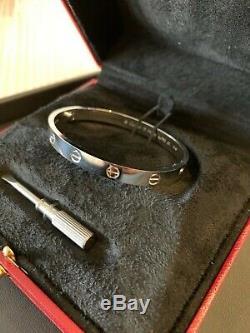 Cartier Love Bracelet 17 18k White Gold Box Certificate Tool Pristine B6035417