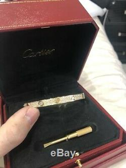 Cartier Love Bracelet. 18k Yellow Gold. Fully Iced Out