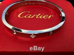 Cartier Love Bracelet 4 Diamonds White Gold Size 20