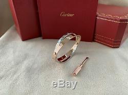 Cartier Love Bracelet Rose & White Gold Size 17 12 Diamond (New Screw System)