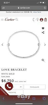 Cartier Love Bracelet Size 16 White 18K Gold Brand New