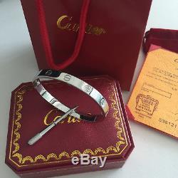 Cartier Love Bracelet Size 18 18k White Gold