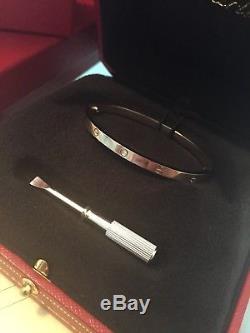 Cartier Love bangle bracelet white gold SM size 16 NEW