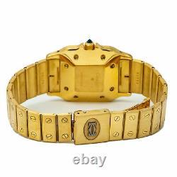 Cartier Santos 29MM Large Men's Automatic Watch 18K YG White Dial