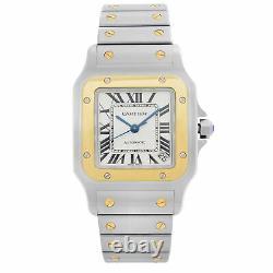Cartier Santos Galbee 18k Yellow Gold Steel White Dial Mens Watch W20099C4