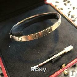 Cartier White Gold Love Bangle Bracelet Size #20 With Driver Box Used
