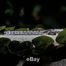 Certified 7Ct Princess Cut Diamond Men's Tennis Bracelet 14k White Gold