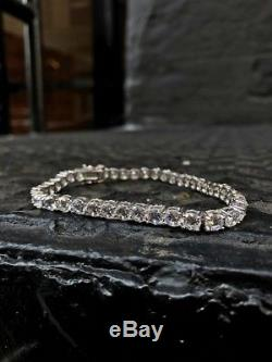 Certified Men's 14K White Gold Classy 12Ct Diamond Link Tennis Bracelet L/8.5