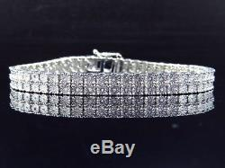 Certified Mens Ladies 2 Row 0.50ct Diamond Tennis Bracelet 8 14k White Gold