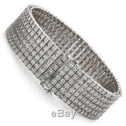 Certified White Round Diamond Tennis Bracelet Men Jewelry in 14K White Gold