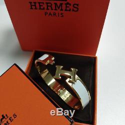 Classic HERMES Enamel Bracelet PM 18K Gold Clic Clac H Bangle White