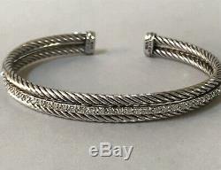 David Yurman Diamond 14k White Gold Sterling Silver Cuff Bracelet