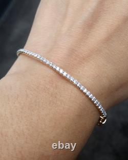 Deal! 1.00 CT Natural 100% Round Diamond Tennis Bangle Bracelet 14K Gold