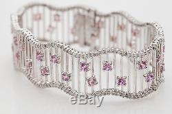 Designer $12,000 12ct Natural Pink Sapphire Diamond 18k White Gold Bracelet 36g