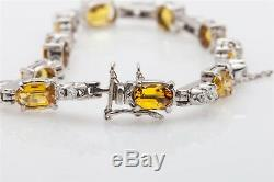 Designer $12,000 16ct Natural Yellow Sapphire Diamond 18k White Gold Bracelet