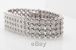 Designer $50,000 30ct BEZEL SET Diamond 14k White Gold RIBBON Bracelet 66g