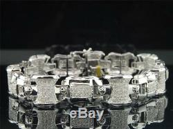 Diamond Link Bracelet Mens 10K White Gold Round Cut Pave Domed 3.75 Tcw