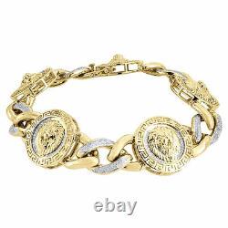 Diamond Lion Head & Miami Cuban Link Bracelet 10K Yellow Gold 3D Design 1.26 Tcw
