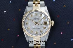 Diamond Rolex 31mm Datejust 18K & SS White Mother of Pearl Dial Jubilee Bracelet