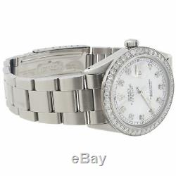 Diamond Rolex Datejust Watch Mens 36mm Oyster Band White Mother Pearl Dial 2 Ct