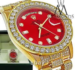 Diamond Rolex Presidential 18K Yellow Gold 18038 Single Quick Set Watch Red Dial