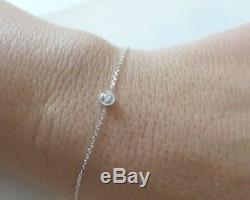 Diamond Solitaire Bezel Set Bracelet 14k White Gold 0.10ct SI1 G color