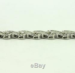 Diamond X link bracelet 14K white gold round brilliant baguette 6.50C 24.9G 7.5