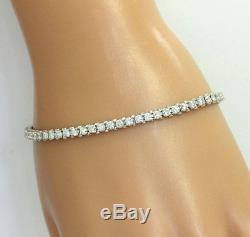 Diamond tennis bracelet 14K white gold 59 VVS2-VS2 round brilliant 2.95CT 10.4GM