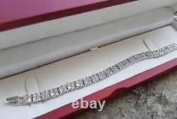 Double Row Bracelet Riviera Tennis Bracelet Platinum finish with Created Diamond