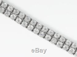 Double Row Genuine Diamond Bezel Bracelet in White Gold Finish 8 inches