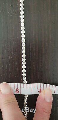 EUC 14K White Gold 1.0ctw Bezel Set Diamond Petite Tennis Bracelet 7 inch