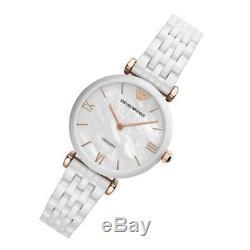 Emporio Armani AR1486 White Rose Gold Tone Ceramica Mother of Pearl Ladies Watch