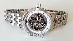 Emporio Armani Men's Watch Meccanico Skeleton Dial White Bracelet AR4626 Genuine