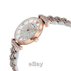 Emporio Armani Women's WatchWhite Crystal Pave DialTwo Tone BraceletAR1926