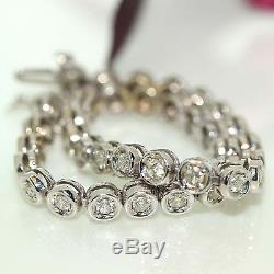 Estate 14k White gold natural round Diamond Traditional Tennis Bracelet 1.50ctw