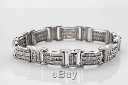 Estate $15,000 15ct Princess Cut Diamond 10k White Gold Mens Bracelet HEAVY