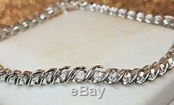 Estate Vintage 10k White Gold Natural Diamond Bracelet