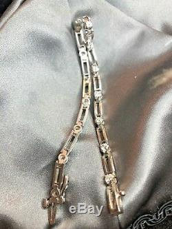 Estate Vintage 14k White Gold Genuine Natural Diamond Bracelet 1 Tcw