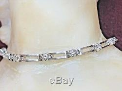 Estate Vintage 14k White Gold Genuine Natural Diamond Bracelet 1 Tcw