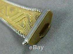 Estate Wide & Long 14k White & Yellow Gold Multi Wave Mesh Italian Bracelet 1643