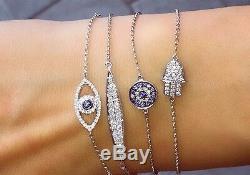 Evil Eye Diamond Bracelet in 14k Rose, Yellow or white Gold