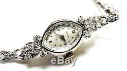 Fine Antique Vintage 14k White Gold and Diamond Hamilton Ladies Watch Bracelet