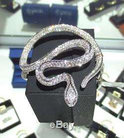 Fine Diamond Snake Cluster Bracelet 18K White Gold 14.34CT