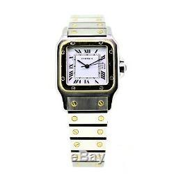 Gents Cartier Santos -18k Gold & Steel Automatic Galbee Bracelet White Dial