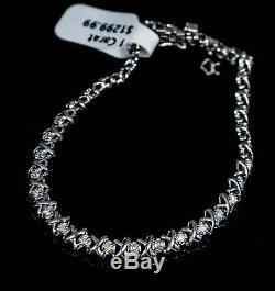 Gorgeous 10K White GOLD Natural Diamond 1 Carat XOXO Bracelet Box Clasp