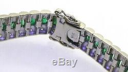 Heavy 14K white gold elegant 8.85CTW diamond & emerald line link bracelet