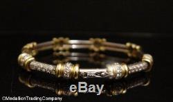 Heavy 18K Yellow & White Gold Roberto Coin Diamond Bar Tennis Bracelet 20.2 Gram