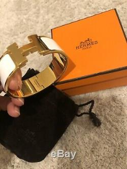 Hermes £560 White Enamel Gold Plated Large H CLIC Clac Bracelet 100% Auth