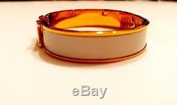 Hermes Clic-Clac H 18k White Gold Luxury Enamel Bangle Bracelet PM